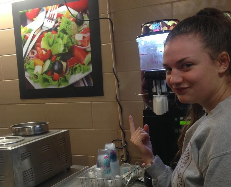 Marcy Hiller points out that the cafeteria food looks nothing like the food it advertises