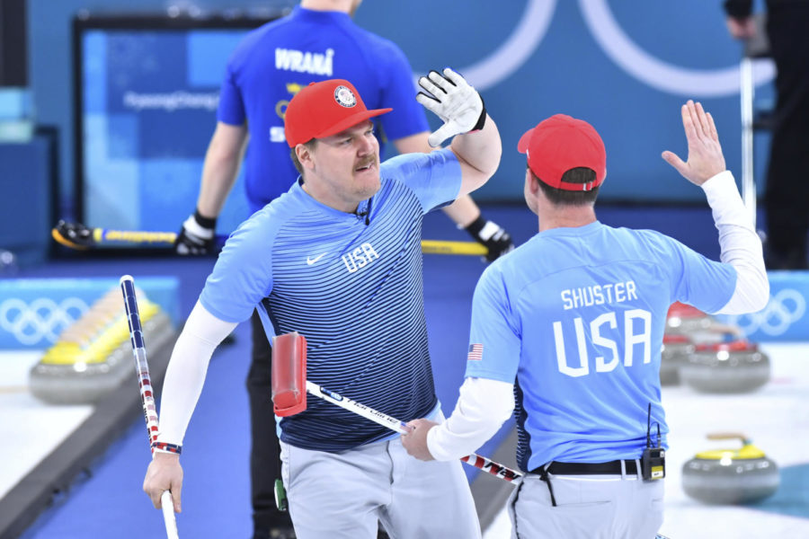 USA%27s+Matt+Hamilton+%28l%29+and+John+Shuster+celebrate+winning+gold+at+the+men%27s+curling+finals+against+Sweden+at+the+Curling+Centre+in+Gangneung%2C+South+Korea%2C+24+February+2018.+Photo+by%3A+Peter+Kneffel%2Fpicture-alliance%2Fdpa%2FAP+Images
