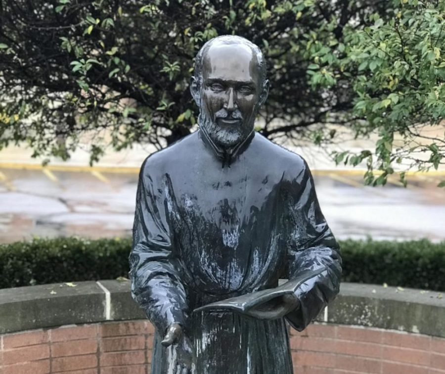 St.+Ignatius+statue+from+Brebeuf+Jesuit+grounds.%0APhoto+Credit%3A+Meredyth+Jones+%2719%0A