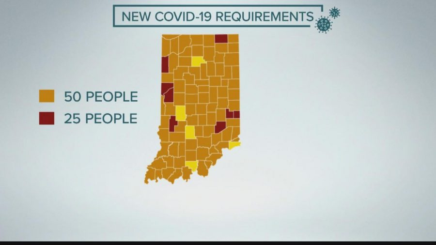 Updated Indiana Covid-19 map Photo Credit: WTHR-13